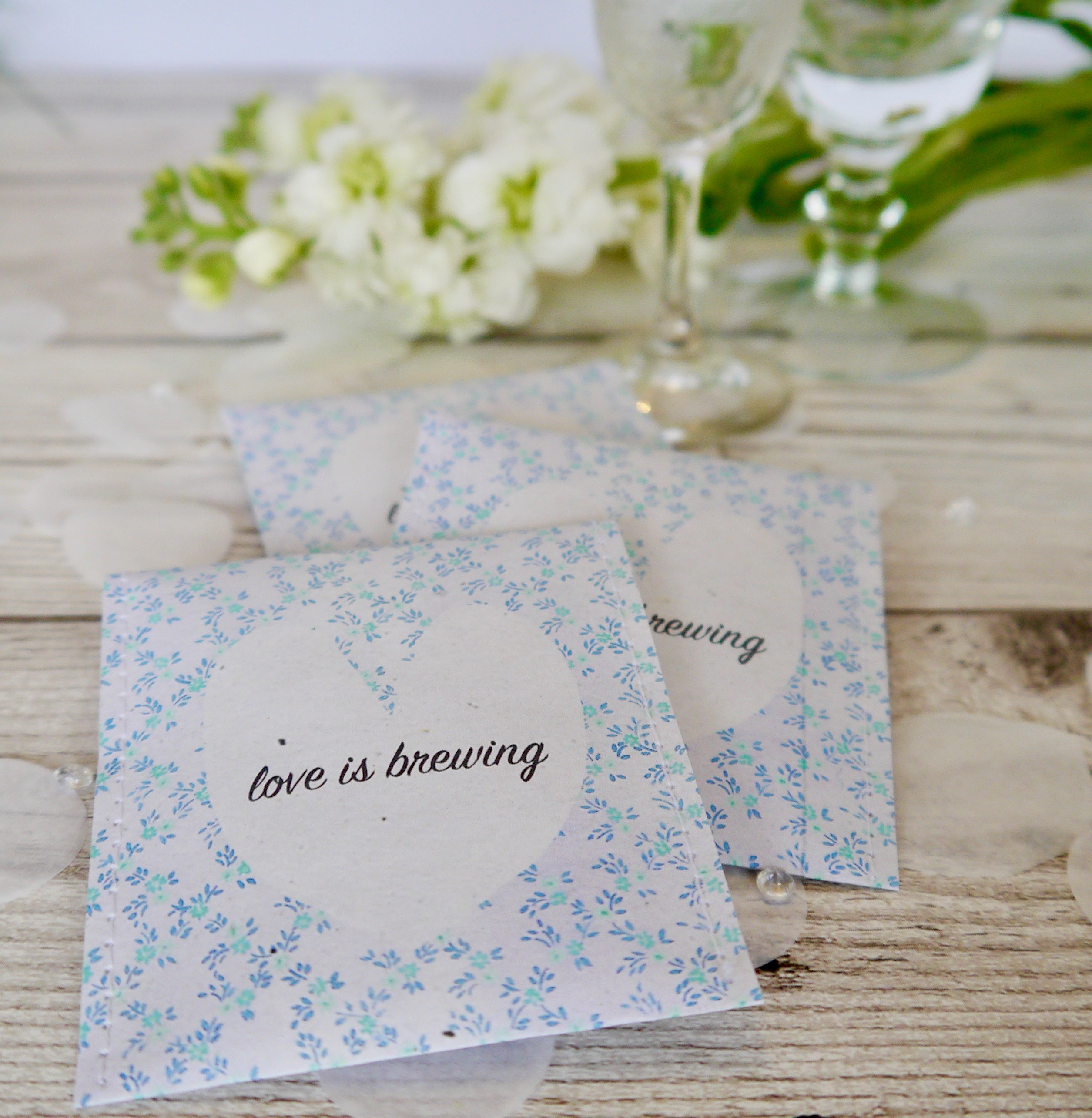 Love is brewing\' - bespoke teabag wedding favours - Victoria Mae Designs