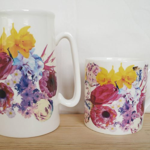 Bone china jug with floral design (1 pint) - Victoria Mae Designs