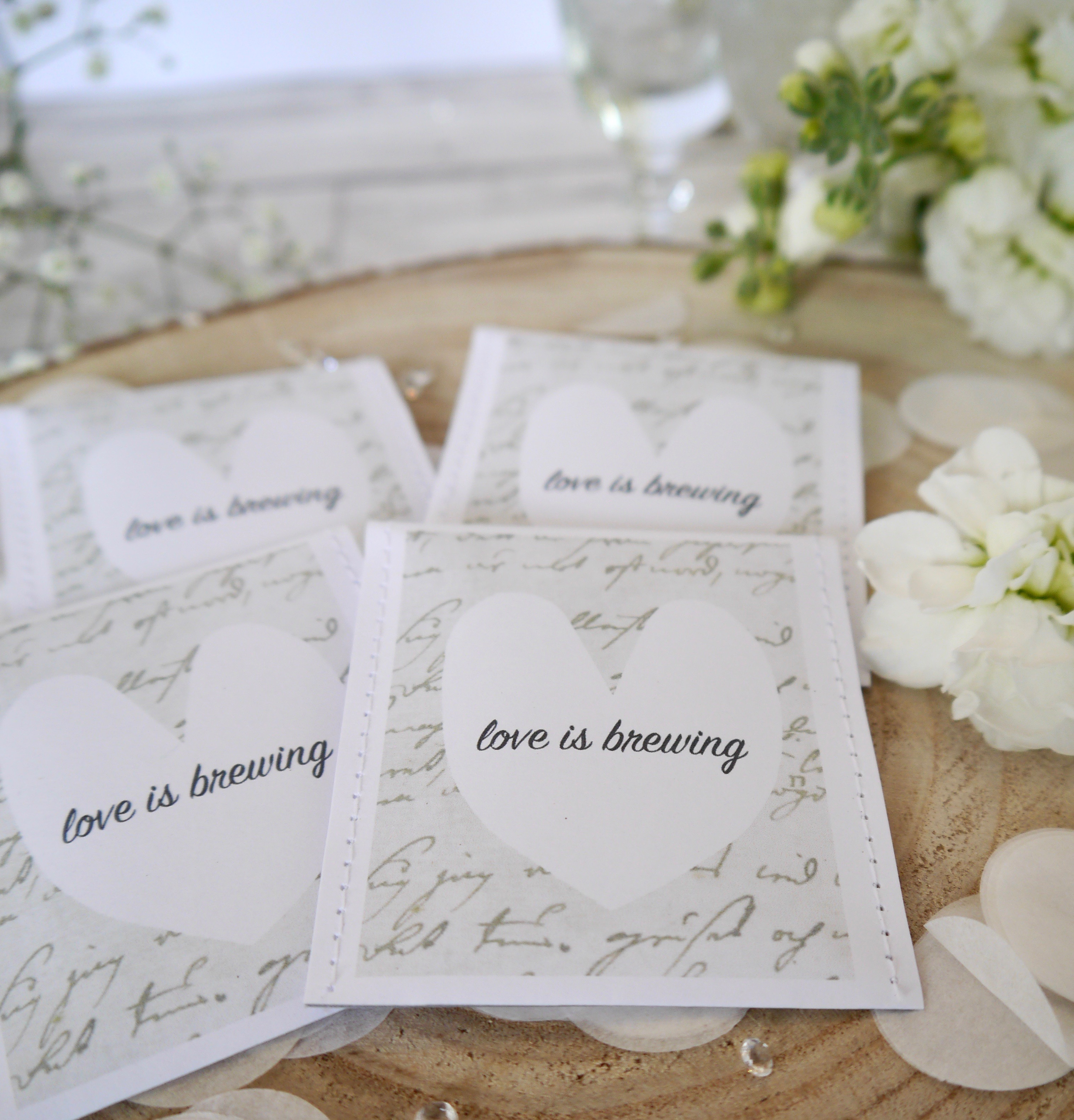 Love is brewing\' teabag wedding favours - Victoria Mae Designs
