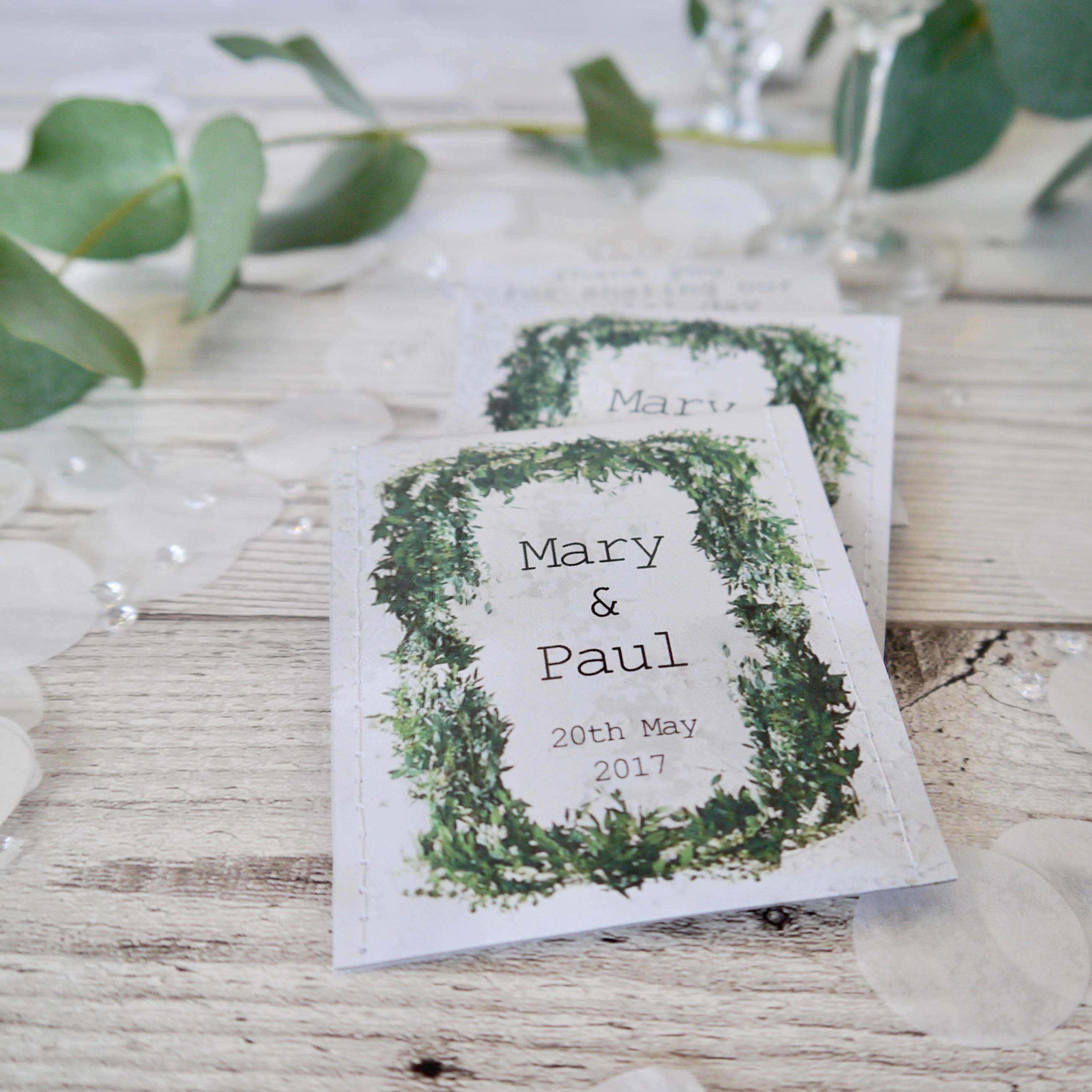 Teabag wedding favours with Mediterranean foliage design