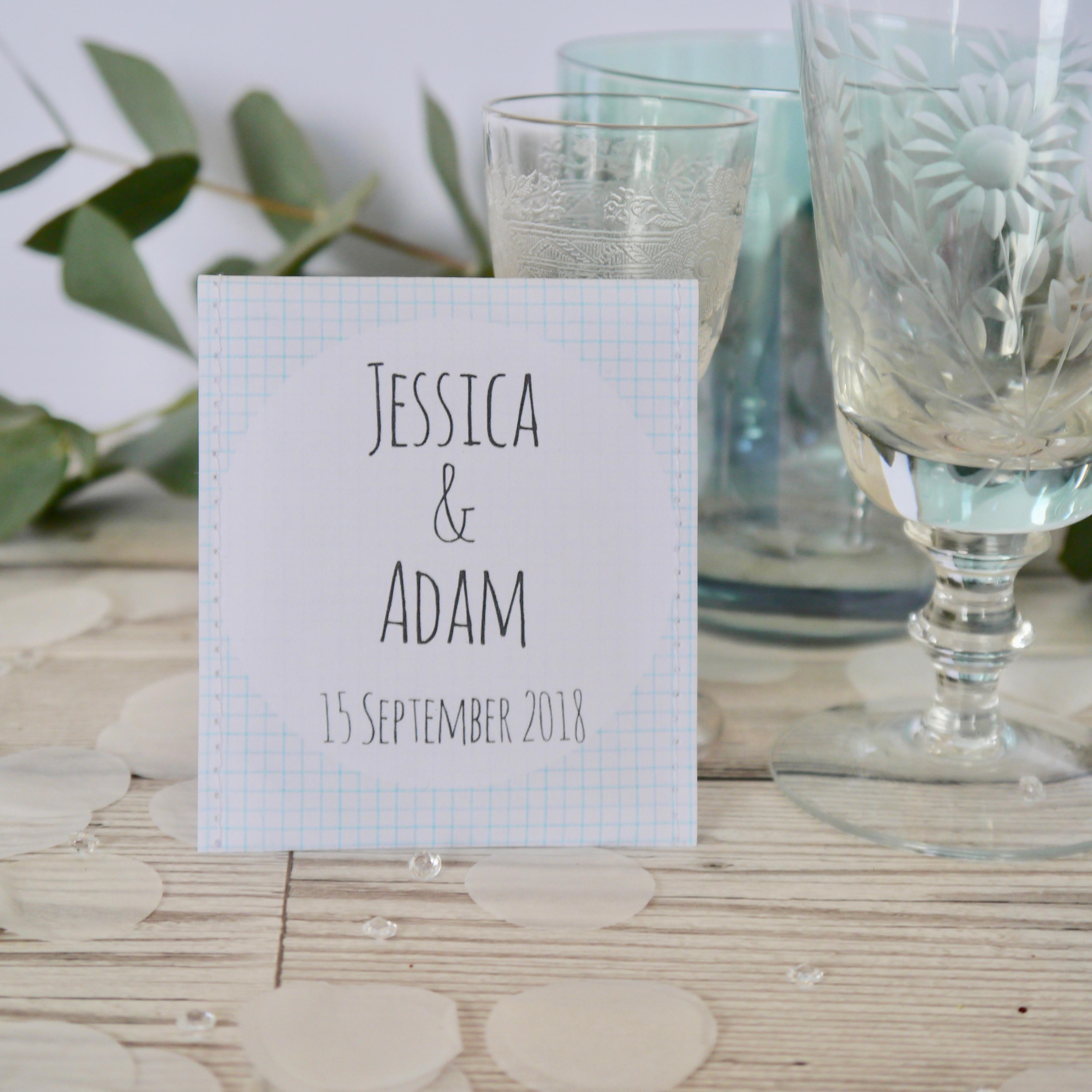 Teabag wedding favours with blue grid design - Victoria Mae Designs